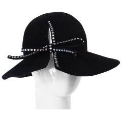 1980s Amen Wardy Rhinestone Bow Hat