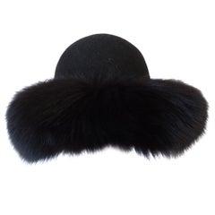 1960s Kates Canada Mink Fur Trim Derby Hat