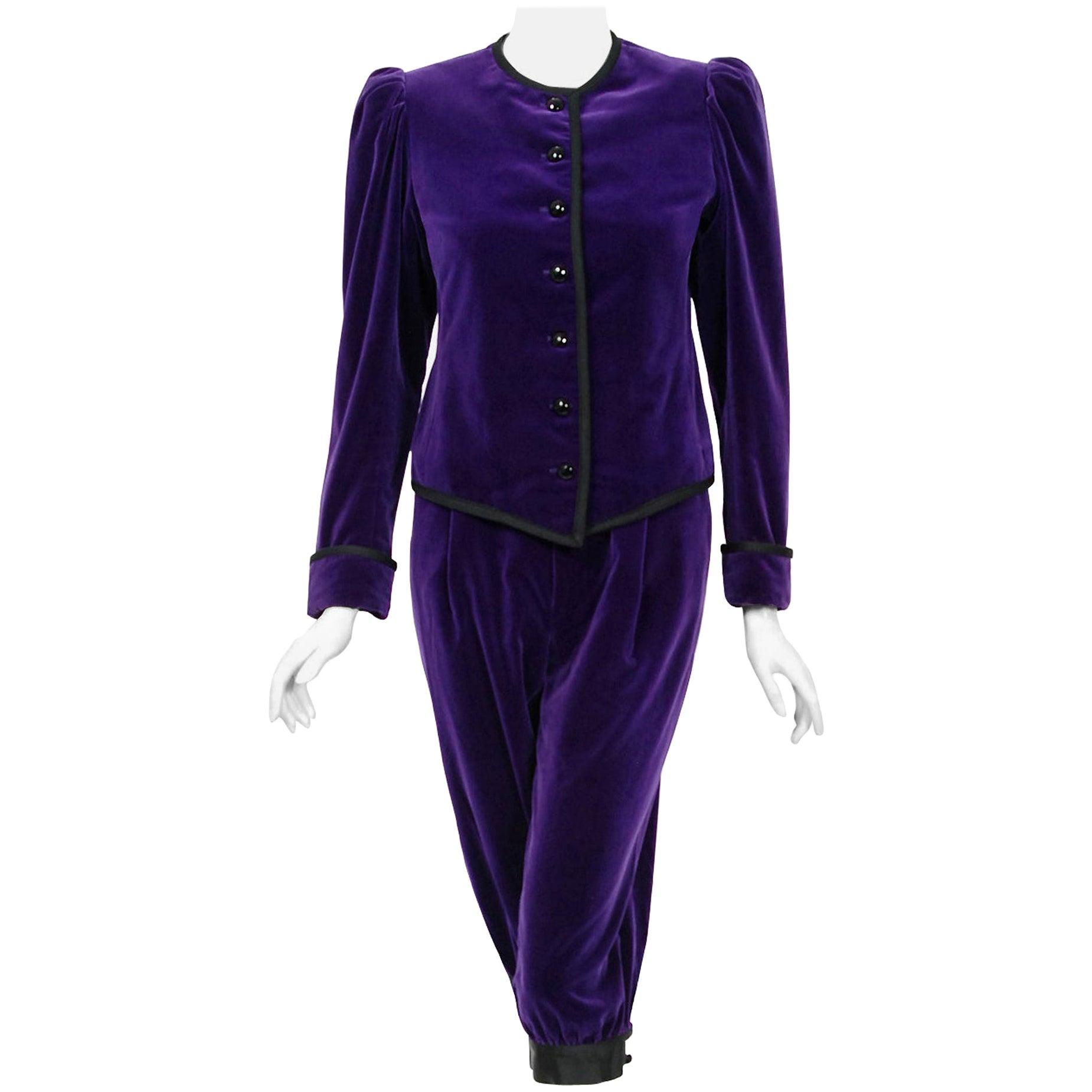 Vintage 1979 Yves Saint Laurent Documented Purple Velvet Jacket Knicker Pantsuit