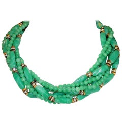 Circa 1960s William deLillo Green Glass Bead Necklace