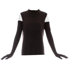 Hermes by Martin Margiela brown cashmere sweater vest and long gloves, ca. 2002