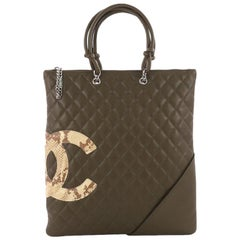 This Chanel Cambon Flat Tote Quilted Leather, crafted in olive quilted leather