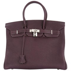 Hermes Birkin 35 Purple Palladium Silver CarryAll Satchel Tote Shoulder Bag