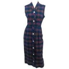 1960s Plaid Wool Shift Dress