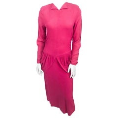 1940s Hot Pink Dress with Flounces and Draped Panels