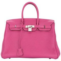 Hermes Birkin 35 Pink Palladium Silver CarryAll Satchel Tote Shoulder Bag
