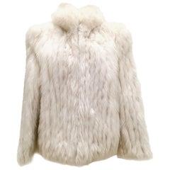 20th Century Silver Winter White Fox Fur Jacket