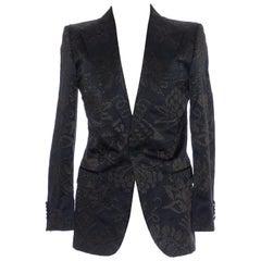 Gucci Tom Ford Black Satin Jacquard Tuxedo Blazer, Spring 2000