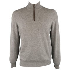 MARIO'S Size XL Heather Grey Cashmere Zip Neck Pullover Sweater