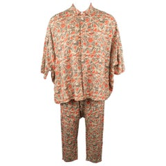SEASON WIND Brick & Beige Print Oversized Shirt & Drop Crotch Pants Suit