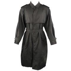SANYO 40 Black Textured Nylon Belted Raincoat