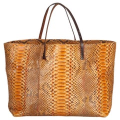 Fendi Orange Python Leather Tote