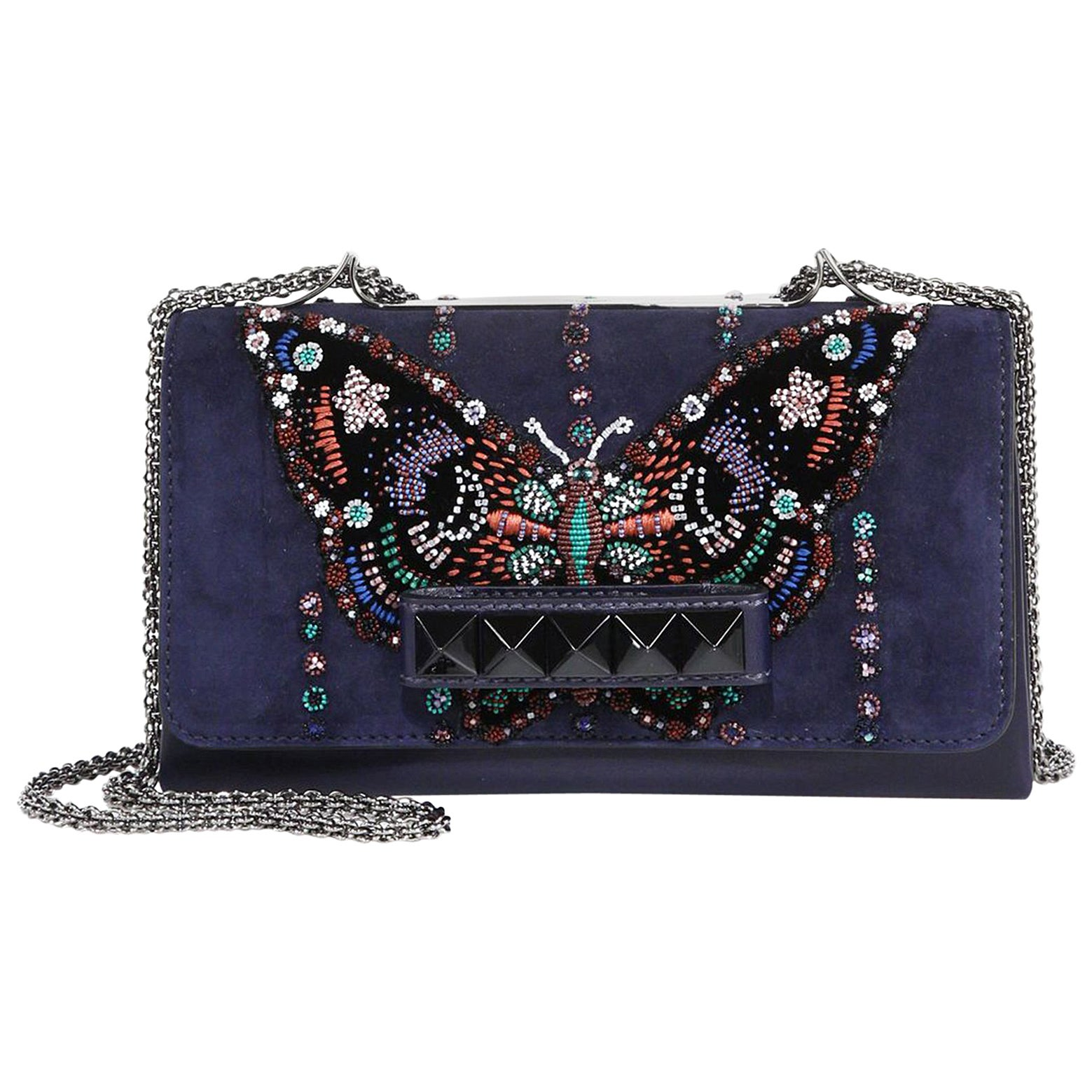 ffc50c00a4 Valentino Va Va Voom Beaded Butterfly Suede Shoulder Bag at 1stdibs