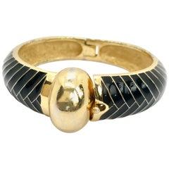 Lanvin 1970s Vintage Black Enamel Bangle Bracelet
