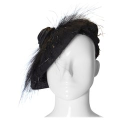 Vintage Black Beret with Satin Swirl and Feather Spikes