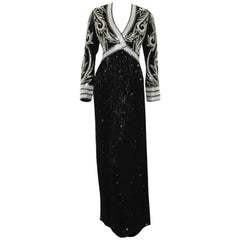 Bob Mackie Black & White Fully Beaded Gown