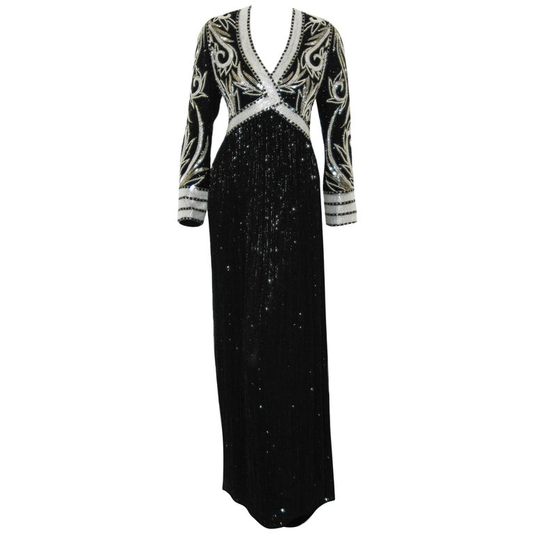 Bob Mackie Black & White Fully Beaded Gown For Sale