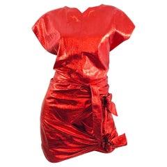 Isabel Marant Red Leather Skirt /Top Set Spring 2017