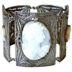 Circa 1940 Italian 800 Silver Filigree Cameo Bracelet