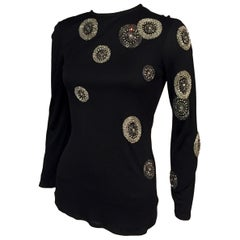 Beaded Black Jersey Top Asymmetrical Design of Rhinestones and Bugle Beads