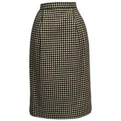 Yves Saint Laurent 1970's Black & White Wool Check Skirt