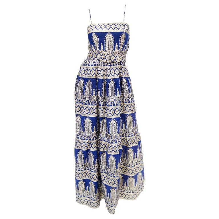1960s Oscar de la Renta Blue & Gold Evening Dress & Jacket Ensemble For Sale