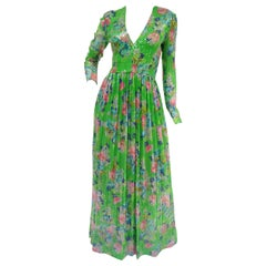 1970s Harold Levine Clear Sequined Green and Pink Floral Maxi Dress
