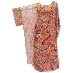 1960s Neiman Marcus Vibrant Pink Swirl Dress with Sheer Kimono Detail
