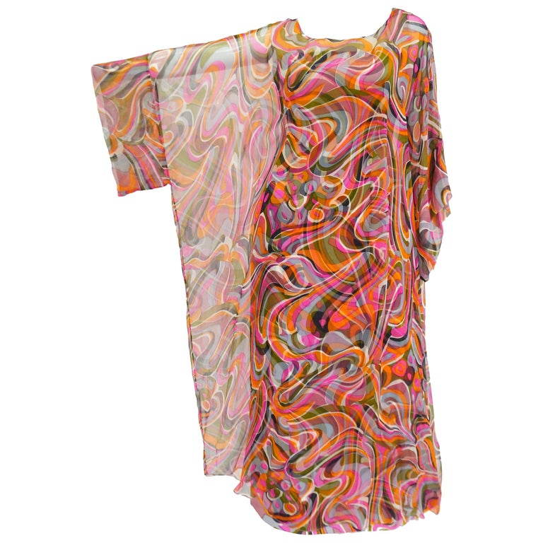 1960s Neiman Marcus Vibrant Pink Swirl Dress with Sheer Kimono Detail  For Sale