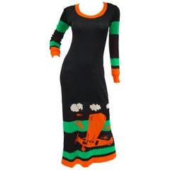 1970s Giorgio di Sant' Angelo Biplane Intarsia Knit Maxi Dress