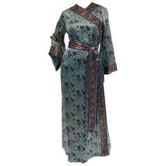 1960s Treacy Lowe Mercerized Cotton Handprinted India Wrap Dress