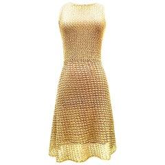 21st Century & New Gold Metallic Crochet Swing Shift Dress By, Issa London