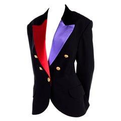 Louis Feraud Vintage Black Tuxedo Jacket Blazer W/ Purple & Red Satin