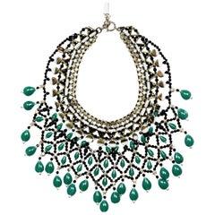 Etro Grün/Schwarz Kristall & Perlen Bib Halskette