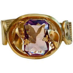 Circa 1940s Goldtone Mesh Bracelet With Large Faceted Amethyst Glass Stone