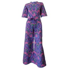 1960s Design Thai Quilted Wide-legged Jumpsuit