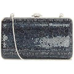 Judith Leiber Dark Grey Swarovski Crystal Small Minaudiere Bag W/ Strap