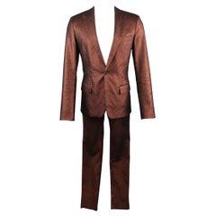 GAULTIER2 JEAN PAUL GAULTIER 38 Copper Metallic Sparkle Peak Lapel Skinny Suit
