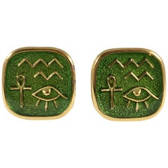 Trifari Green Egyptian Hieroglyph Clip Earrings 1970s