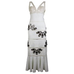 Alexander McQueen White Python Dress with Mirror Embellishments, SS15, Size 2 US