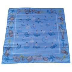 Hermès Silk Scarf La Danse Jean Louis Clerc Blue Brown 90 cm