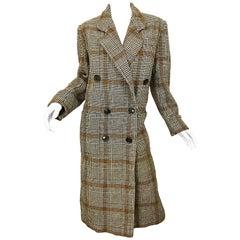 1980s Calvin Klein Brown Glen Plaid Double Breasted Vintage 80s Wool Jacket Coat