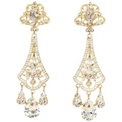 Dolce & Gabbana Goldtone Filigrana Swarovski Crystal Pendant Earrings