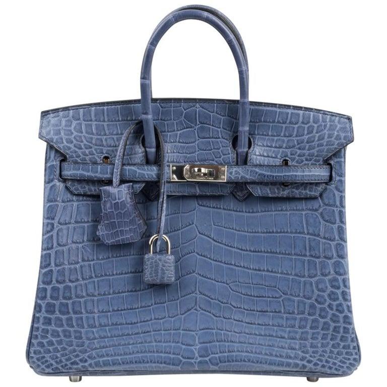 Hermes Birkin 25 Bag Blue Brighton Matte Crocodile Palladium Hardware For Sale