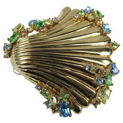 Never Worn Ciner swarovski Crystal Sea Shell Brooch Gold tone 1980s