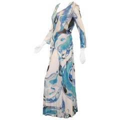 Emilio Pucci Blue Tone Two Piece Dress Ensemble