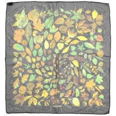Hermes Black/Multi-Color Autumn Leaf Print 45 CM Silk Pocket Square Scarf