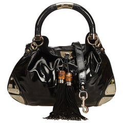 Gucci Black Bamboo Patent Leather Indy Satchel