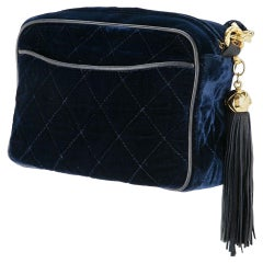 Chanel Ultra Rare Mini Vintage Blue Roi Velvet Fringe Tassel Clutch Camera Tote