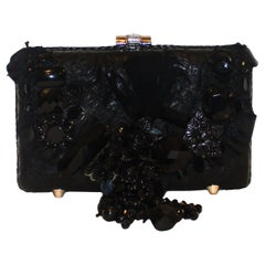 Mary Frances Black Beaded Clutch Bag